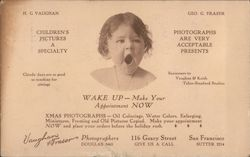 WAKE UP, Make Your Appointment NOW. Ad for a photographer. Postcard