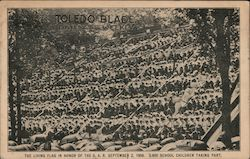 The Living Flag In Honor Of The G. A. R., September 2, 1908, 3,600 School Children Taking Part. Postcard
