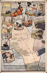 California Map: Ad for Pacific-Southwest Trust & Savings Bank. Postcard