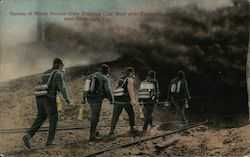 Bureau of Mines Rescue Crew Entering Mine after Explosion Postcard