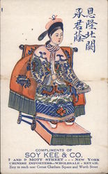 Woman on a throne. Ad for Soy Kee & Co., Chinese Importers Postcard
