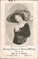 Opening Dispaly of Spring Millinery March 26, 1912 Postcard