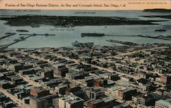 Portion of San Diego Business District, the Bay and Coronado Island Postcard