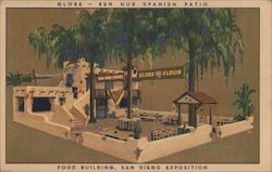 Globe-Ben Hur Spanish Patio - Food Building San Diego Exposition Postcard