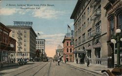 J Street, looking west from Fifth Street Postcard