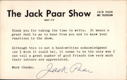 The Jack Paar Show, NBC Television Postcard