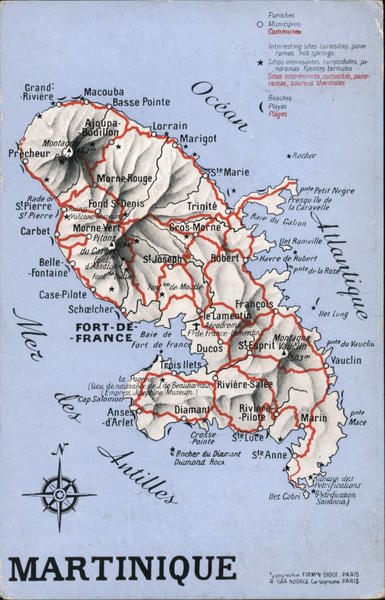 Island of Martinique - Topographical Map France