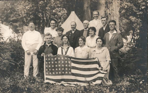 Group of men and women with American Flag Patriotic