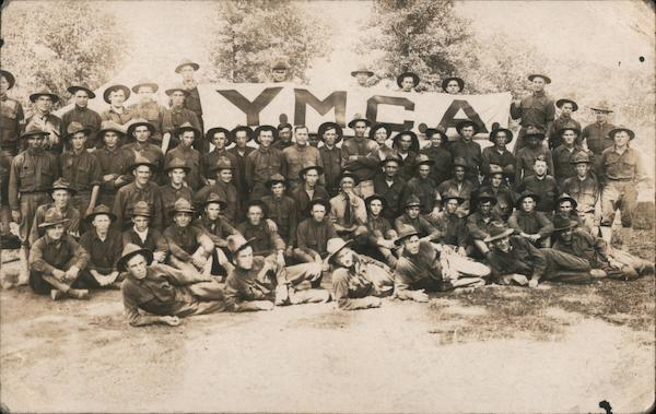 Troops with YMCA banner Military