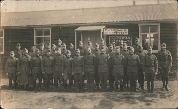 Military group photo in front of YMCA Officers Hut