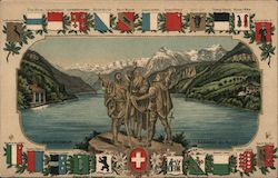 Coats of Arms of Cantons of Switzerland, Lake Geneva, Edelweiss Postcard