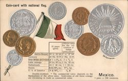 Coin-card with National Flag - Mexico Postcard