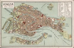 Venezia: Detailed Map Of The City Postcard