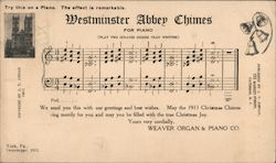 Westminister Abbey Chimes for Piano Postcard