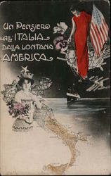 A Thought To Italy from far America - Maps, Ocean Liner, Flowers Postcard