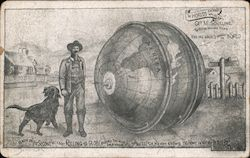 George M Schilling, World's Greatest Distance Walker With Globe Postcard