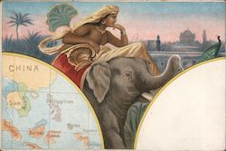 Map of southeast Asia, man riding an elephant Postcard