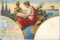 Map of Europe, painting of a lady sitting on a globe Postcard