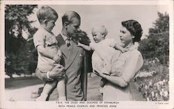 T.R.H. Duke and Duchess of Edinburgh with Prince Charles and Princess Anne Postcard