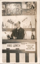 Free Lunch, Please Pay Before Passing Out (Navy bar) Postcard