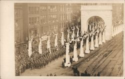 Honor for Duty Nobly Done. Troops passing under the victory arch on parade.