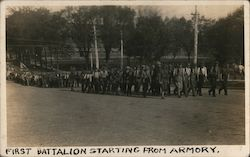 First Battalion Starting From Armory Postcard