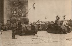 Victorious troops in France with tanks Postcard