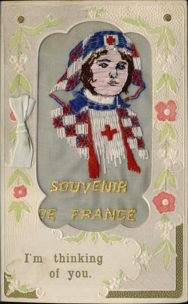 WWI French Nurse Woven Silk Greeting Card World War I