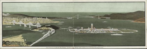 San Francisco Oakland Bay Bridge, Golden Gate Bridge and Golden Gate International Exposition California