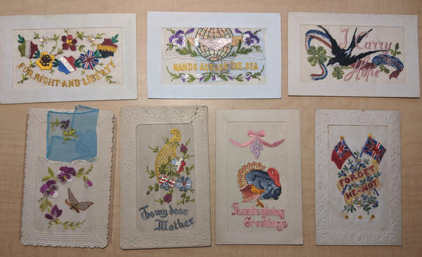 Lot of 7: WWI-era Patriotic Silk Postcards Hands Across Sea, Greetings