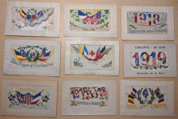 Lot of 9: WWI 1918 1918 Patriotic Embroidered Silk Postcards