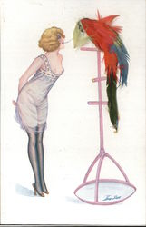 Woman & Parrot, Real Feathers Postcard