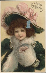 Merry Christmas - Girl With Blue Bow, Brown Hair Postcard