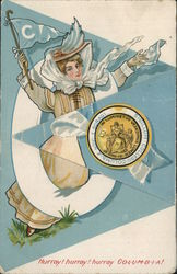 Columbia University Woman with Flag and School Seal Fold-Out Postcard