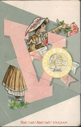 Vassar College Woman Holding Pink Roses Fold-Out Postcard