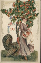 Woman picking apples with turkey Pop-up Novelty Postcard