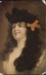 Woman with Long, Curly, Brown Real Hair, Peach Bow Postcard
