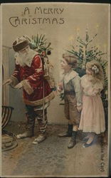 Santa Claus with Children Rare Squeaker Postcard