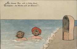 Children Swimming at the Beach Novelty Attached Cork Faces Postcard