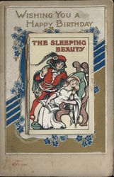 Happy Birthday Card with Book Attached - The Sleeping Beauty Postcard