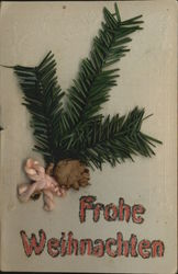 Frohe Weihnachten, Attached Pine Needles Novelty Postcard