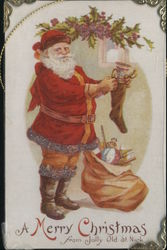 Jolly Old St. Nick Stuffing a Stocking - Glitter Accents and Metal Frame Postcard