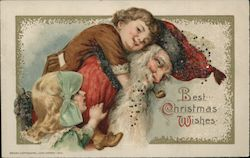 Santa With Children, Glitter Beard, Attached Bow Postcard