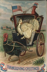 Thanksgiving Greetings Metal Attached Turkey Postcard