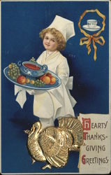 Hearty Thanksgiving Greetings, Metal Attached Turkey Postcard