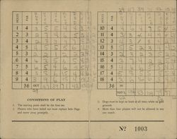 Score Card for Pee Wee Golf at Colonial Village Postcard