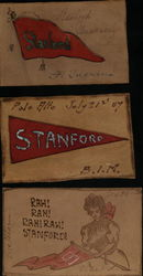 Lot of 3 Leather Stanford University Postcards Pennants Postcard