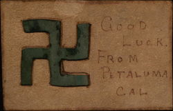 Good Luck from Petaluma Leather Postcard Swastika Postcard