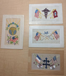 Lot of 4: WWI Embroidered Silk Postcards Caduceus Medical Patriotic Postcard