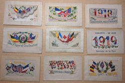 Lot of 9: WWI 1918 1918 Patriotic Embroidered Silk Postcards Postcard